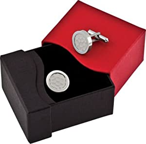Titanium and Sterling Silver Inlay Round Cuff Links with Special Gift Box