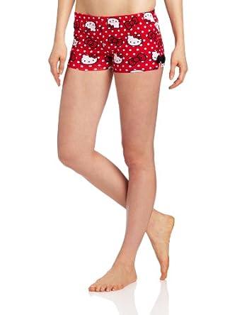 凯蒂猫红色印花远点美女热裤Hello Kitty Women's Kitty Dot Print Short $4.16