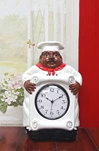 buy african american black happy bistro chef kitchen wall clock chef decor 89092 by ack online. Black Bedroom Furniture Sets. Home Design Ideas