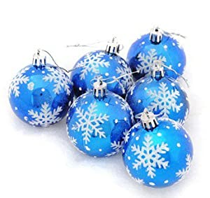Christmas Baubles 60 Mm Snowflake Pattern Blue Christmas