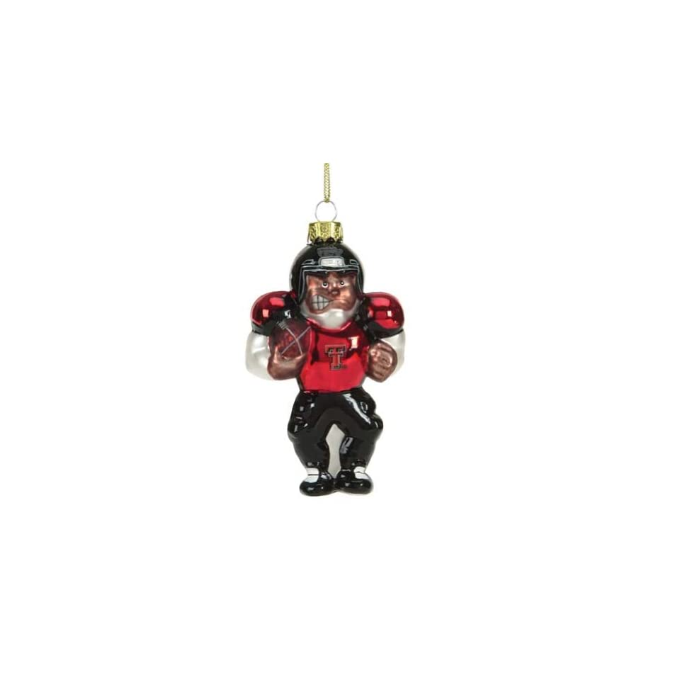 Texas Tech Red Raiders NFL Glass Black Football Player Christmas Tree Ornament 5.5   NCAA College Athletics