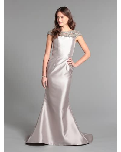 Terani Couture Women's Gown with Embellished Neckline  [Taupe]