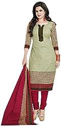 D WINE Women's Cotton Unstitched Salwar Suit (Green)