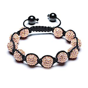 Bling Jewelry Crystal Bead Bracelet Shamballa Inspired Golden Pink 12mm