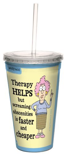Tree-Free Greetings cc33862 Hilarious Aunty Acid Double-Walled Cool Cup with Reusable Straw, Obscenities, 16-Ounce by Tree-Free Greetings