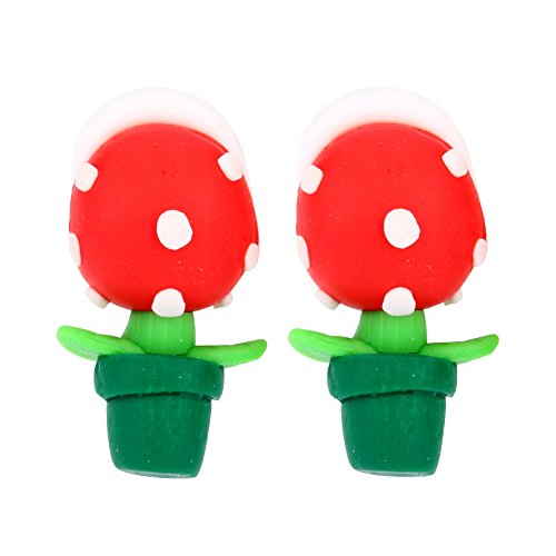 Yosoo Cute Handcraft Polymer Clay Earrings Super Mario Piranha Plant Corpse Flower Ear Studs for Women and Girls (1 Pair)