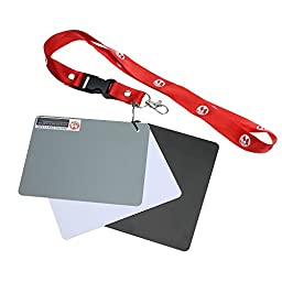 Andoer Micnova 13*10 Large 3 in 1 Pocket-Size Digital White Black Grey Balance Cards 18% Gray Card with Neck Strap for Digital Photography