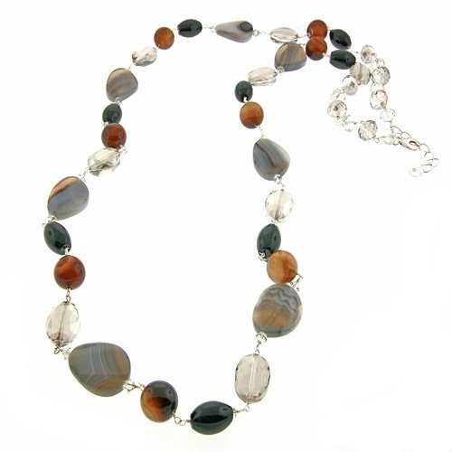 Black Agate & Crystal Long Necklace