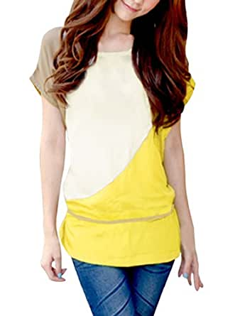 Allegra K Women Short Sleeve Color Block Tunic Tops T