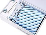 【 ネクタイ カフスボタン ポケットチーフ ネクタイピン 4点 セット 】 斜め ストライプ ホワイト / ブルー [TA0013]