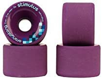 Orangatang Stimulus 70mm 83a Purple Longboard Wheels Set of 4 With Bearings and Sticker Pack