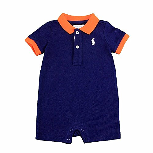Polo Ralph Lauren Infant Boy'S One Piece French Navy Rugby Cotton Shortall Outfit front-946218