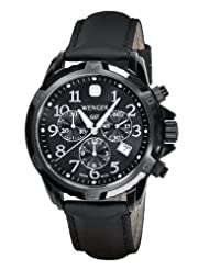 Wenger Men's 78254 GST Chrono Black PVD Black Leather Watch