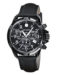 Wenger Men's 78254 GST Chrono Black PVD Black Leather Watch
