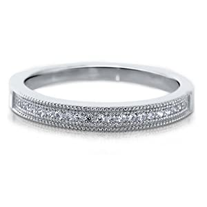 Micro Pave Clear Cubic Zirconia CZ Sterling Silver Half Eternity Band - Nickel Free Engagement Wedding Band Ring Size 9