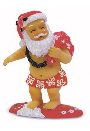 Hawaiian Surfing Santa Polyresin Christmas Ornament