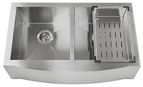 Akdy New 33 Inch Akb8352Cf Farmhouse Apron 50/50 Double Bowl T-304 Stainless Steel Handmade Zero Radius Corner Design 16 Gauge Kitchen Sink W/Free Strainer And Steel Rinsing Basket