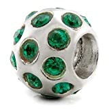Genuine Solid Screw Core 925 Sterling Silver Emerald Crystal Ball Charm Bead will fit Pandora, Chamilia, Troll, Biagi, Amore & Baci and any other 3mm threaded Bracelet