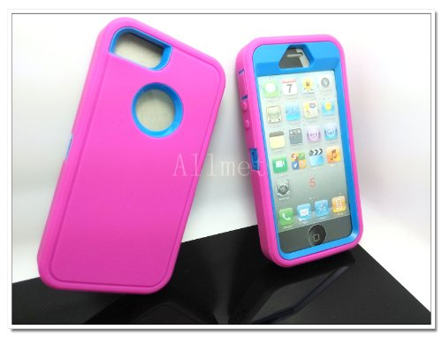 =>  Multi Color Iphone 5 5S Body Armor Silicone Hybrid Cove Hard Case, Three Layer Silicone PC Case Cover for iPhone 5 5S (Hot Pink+Blue)