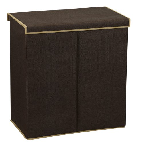 Household Essentials 5614 Double Hamper Laundry Sorter with Magnetic Lid Closure – Brown Coffee Linen