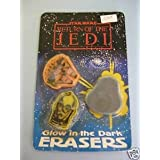 1983 Star Wars Return Of The Jedi Glow In The Dark Erasers Orig. Pkg.