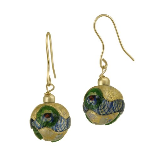 18k Gold Plated Sterling Silver Multi-Blue Hand Blown Glass Round Drop French Wire Earrings