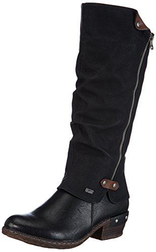Rieker 93655 - Stivali da Cowboy Donna, Nero (schwarz/schwarz/kastanie / 00), 38 EU
