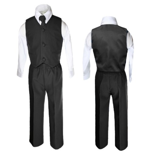 Unotux 4 Piece Formal Boys Black Vest Necktie Sets Suits From 0 Month To 7 Years (3T) front-926795