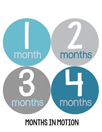 Months in Motion 158 Baby Month Stickers for Newborn Boy Blue Grey - 1