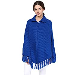 Cayman Blue Solid Woollen Poncho