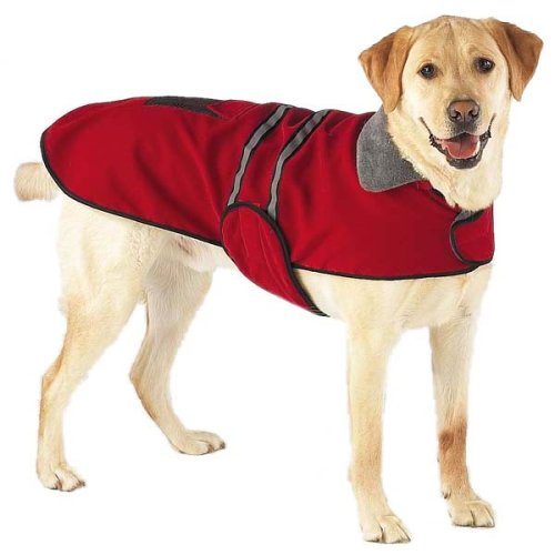 Red Fleece Reflective Safety Dog Jacket