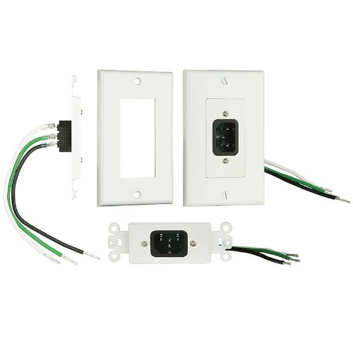 Ethereal Home Theater Iecwp Iec Wall Plate With Pigtail - White