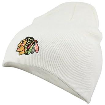 Chicago Blackhawks White Scully Knit Beanie by Reebok
