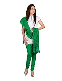 Womens Cottage Forest Green Pure Cotton Chudidar & Cotton Dupatta With Lace Set