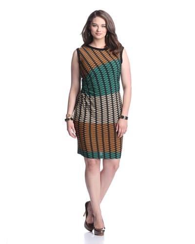 Julian Taylor Women's Printed Dress  - Emerald/Gold