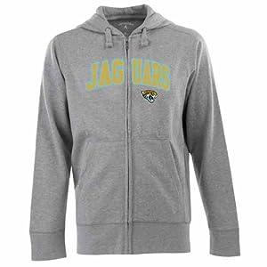 Jacksonville Jaguars Applique Full Zip Hooded Sweatshirt (Grey) by Antigua