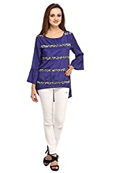 Fashionite Poly Crepe Blue Top For Women Size-L