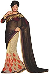 Ambica elegance speaks Women's Marble Saree (Ambica 3601_1, Black Golden Colour)