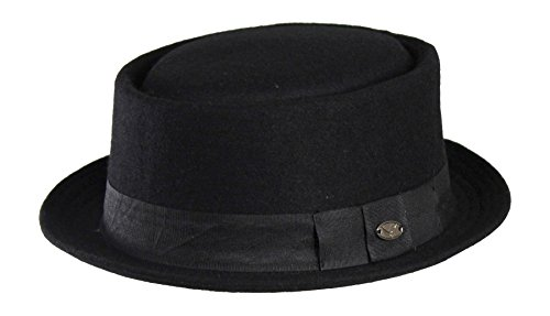 L/XL Wool Blend Pork Pie Fedora Hat w/ Ribbon Band - Upturned Short Brim (Men Pork Pie Hat compare prices)