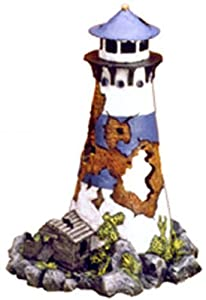 Exotic Environments Lighthouse Ruin Aquarium Ornament, 6-1/2-Inch by 6-Inch by 9-Inch
