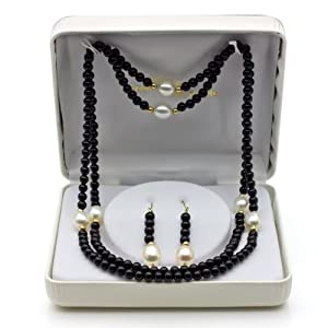 14k Yellow Gold 8-9mm White Freshwater Cultured Pearl, 3-4mm Black Onyx Endless & Hoop Earrings, 30