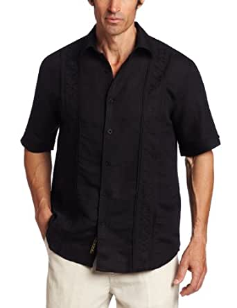 Cubavera men 39 s short sleeve tuck panel with embroidered for No tuck shirts mens