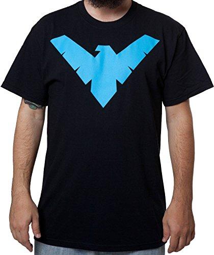 Batman Men's Batman/Nightwing Symbol Tee - X-Large Tall, Black