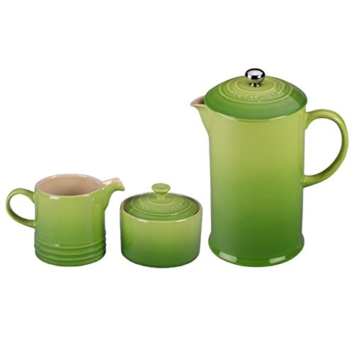 Le Creuset Palm Stoneware French Press Coffee Maker With Matching Cream and Sugar Set Coffee Suppl