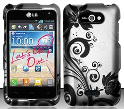 LG Motion 4G MS770 / P870 (MetroPCS) Black/Silver Vines Design Hard Case Snap On Protector Cover + Free Mini Stylus Pen + Free Wrist Strap Lanyard (Lg Ms770 Cover compare prices)
