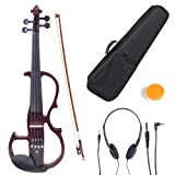 Cecilio 4/4 CEVN-2NA Solid Wood Mahogany Metallic Electric / Silent Violin with Ebony Fittings in Style 2 (Full Size)