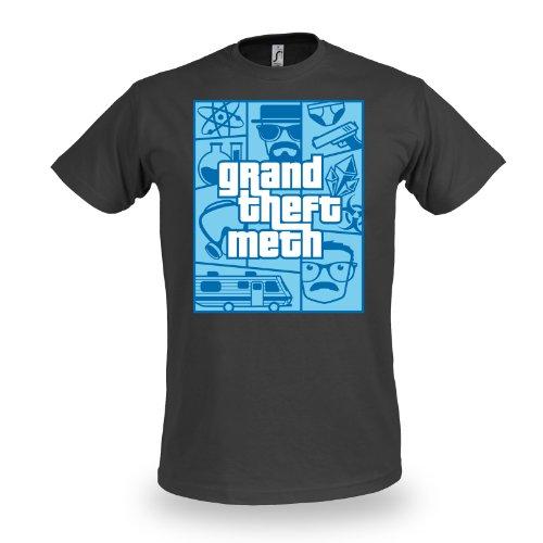 Breaking-Bad-camiseta-Grand-Theft-Meth-para-fans-de-la-serie-Heisenberg-de-manga-corta-gris-oscura