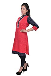 Nishiva Women's Red Cotton Kurta NWK1003_L