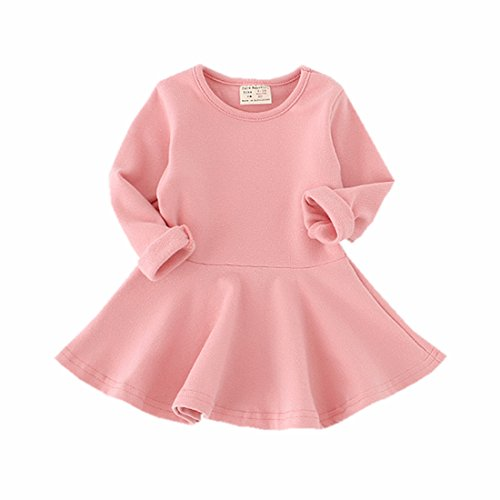 Infant Toddler Baby Girls Dress Pink Ruffle Long Sleeves Cotton (9-12m(80), Pink)