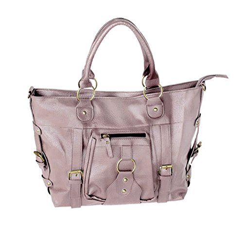 [Dream Lady] Charm Griege Leatherette Double Handle Handbag Shoulder Bag Satchel Bag Purse